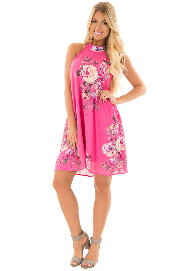 Hot Pink High Neck Dress with Floral Print Detail front full body
