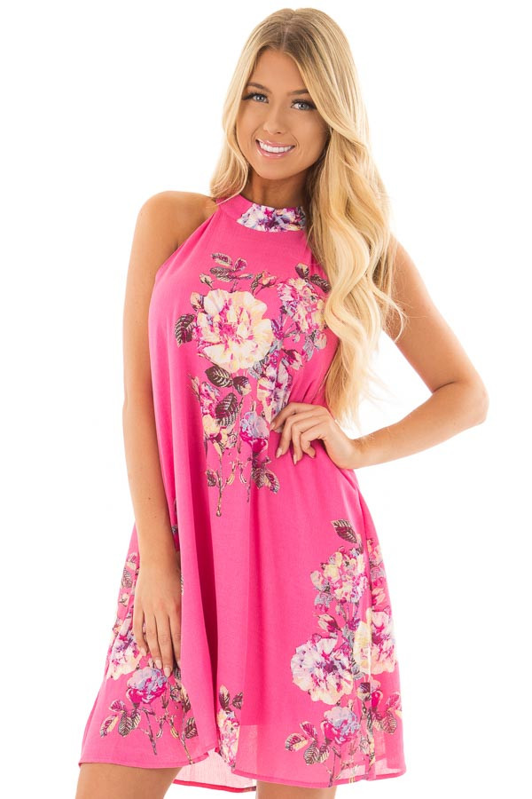 Hot Pink High Neck Dress with Floral Print Detail front close up