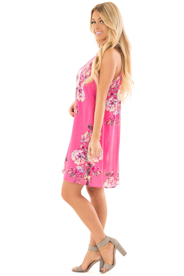 Hot Pink High Neck Dress with Floral Print Detail side full body