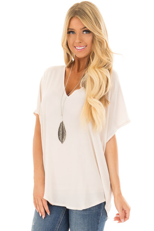 Ivory V Neck Blouse front full body close up