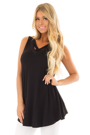 Black V Neck Tank Top with Criss Cross Detail front close up