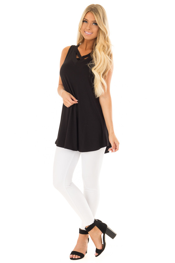 Black V Neck Tank Top with Criss Cross Detail front full body
