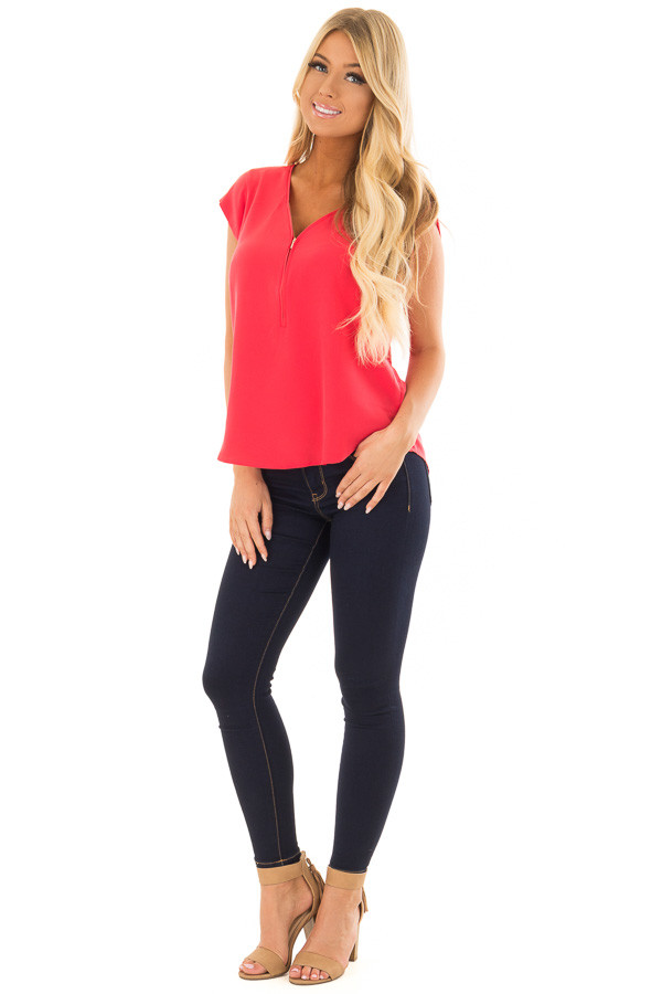 Candy Red Blouse with Zip Up Neckline front full body