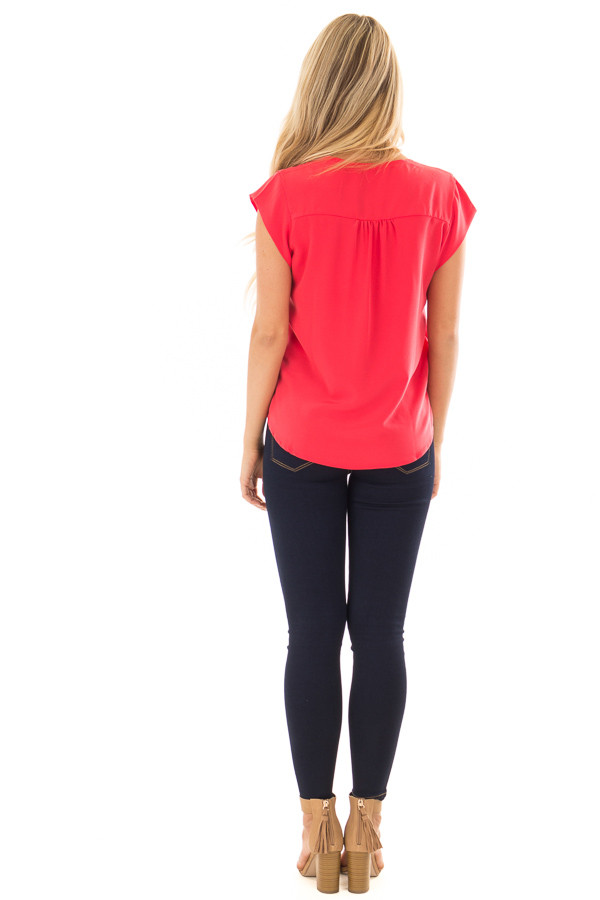 Candy Red Blouse with Zip Up Neckline back full body