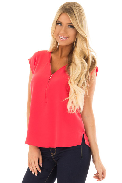 Candy Red Blouse with Zip Up Neckline front close up