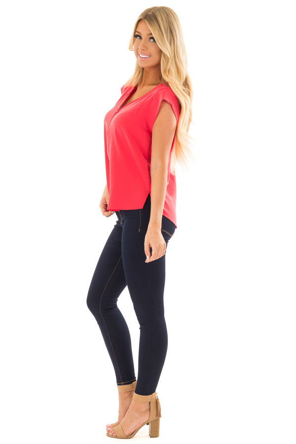 Candy Red Blouse with Zip Up Neckline side full body