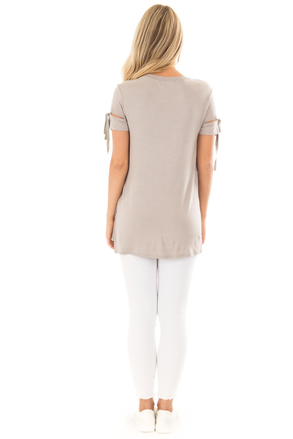 Faded Olive Top with Slit and Tie Sleeve Detail back full body