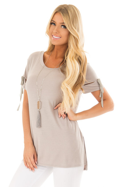 Faded Olive Top with Slit and Tie Sleeve Detail front close up
