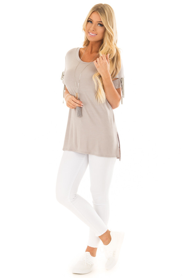 Faded Olive Top with Slit and Tie Sleeve Detail front full body
