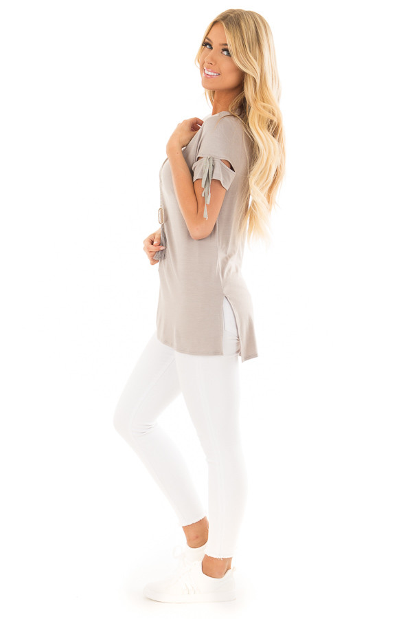 Faded Olive Top with Slit and Tie Sleeve Detail side full body