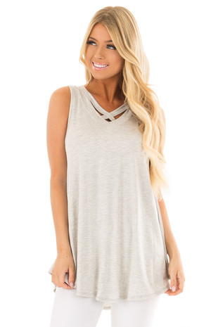 Heather Grey V Neck Tank Top with Criss Cross Detail front close up