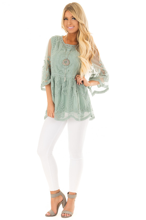 Sage Floral Lace Top with Sheer 3/4 Sleeves front full body
