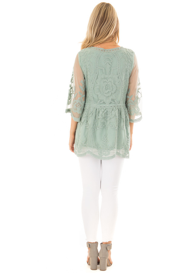 Sage Floral Lace Top with Sheer 3/4 Sleeves back full body