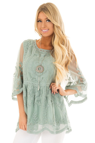 Sage Floral Lace Top with Sheer 3/4 Sleeves front close up