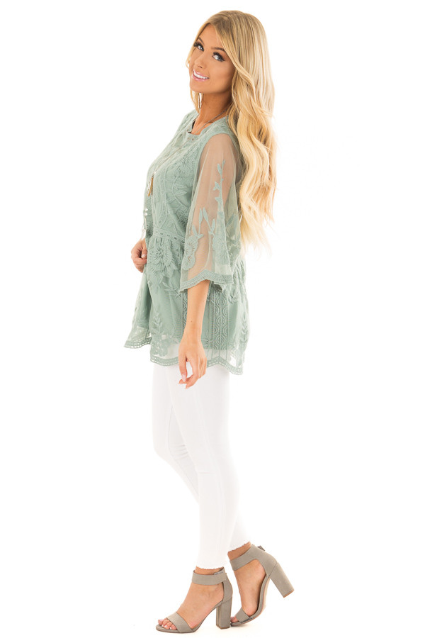 Sage Floral Lace Top with Sheer 3/4 Sleeves side full body