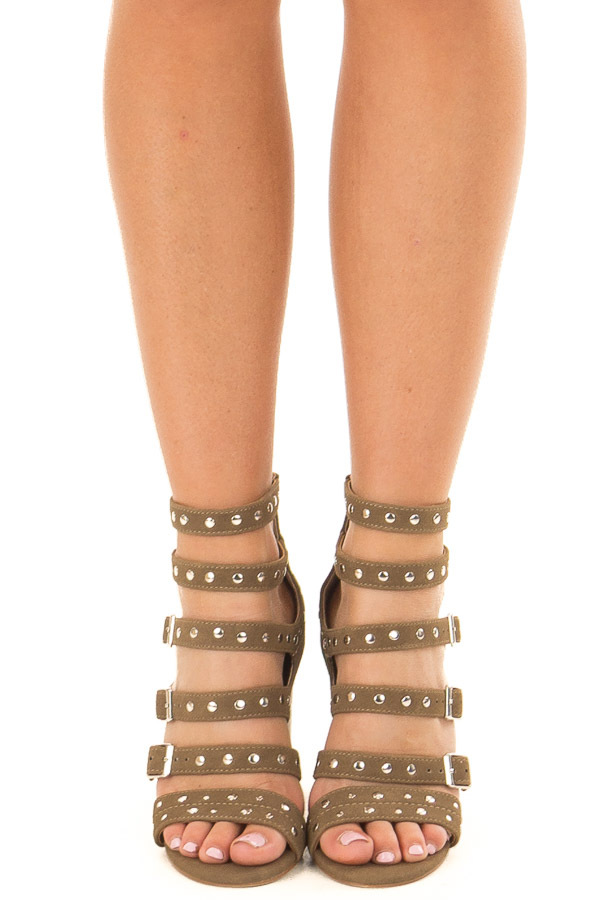 Dark Khaki Studded Strap Zip Up High Heel Sandal front view