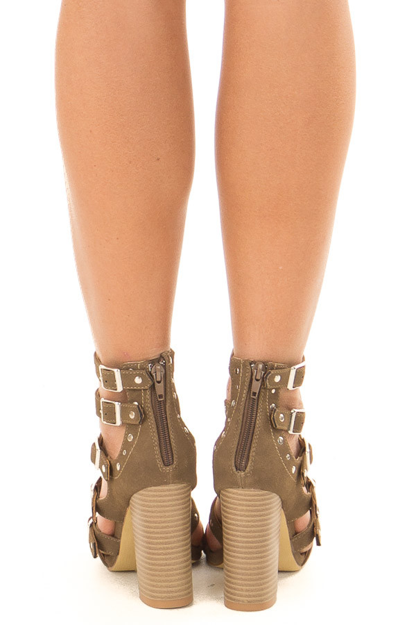 Dark Khaki Studded Strap Zip Up High Heel Sandal back view