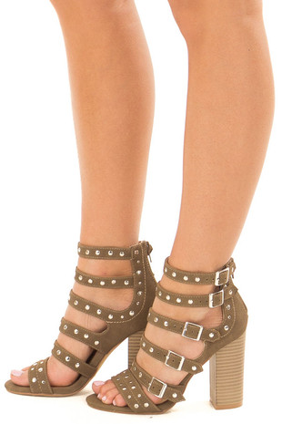 Dark Khaki Studded Strap Zip Up High Heel Sandal side view