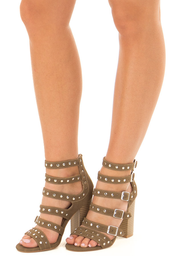Dark Khaki Studded Strap Zip Up High Heel Sandal front side view
