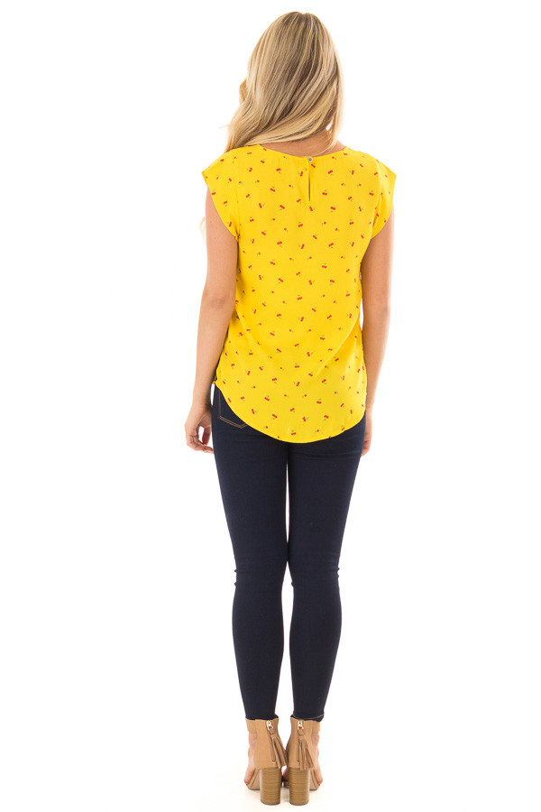 Sunshine Yellow Cherry Print Top with Breast Pocket back full body