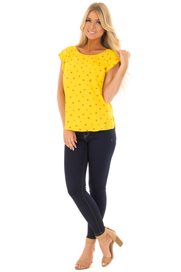 Sunshine Yellow Cherry Print Top with Breast Pocket front full body