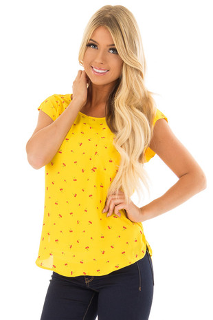 Sunshine Yellow Cherry Print Top with Breast Pocket front close up