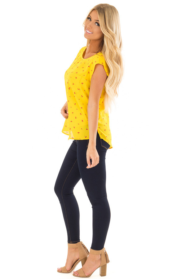 Sunshine Yellow Cherry Print Top with Breast Pocket side full body