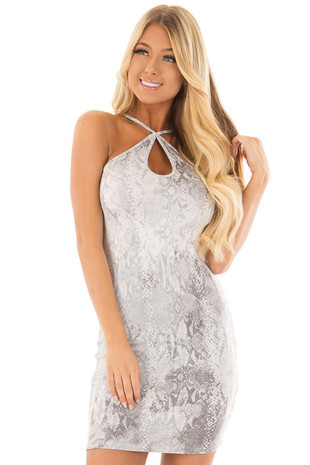 Heather Grey Snakeskin Knit Bodycon Dress front close up
