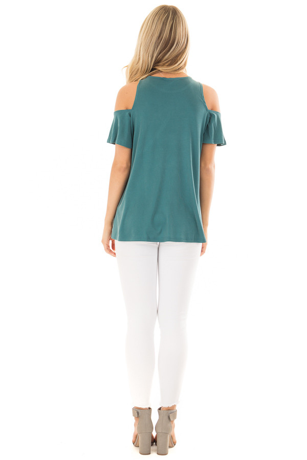 Dusty Teal Soft Ribbed Knit Cold Shoulder Top back full body