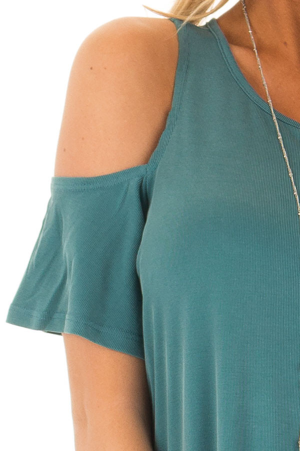 Dusty Teal Soft Ribbed Knit Cold Shoulder Top detail