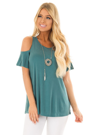 Dusty Teal Soft Ribbed Knit Cold Shoulder Top front close up