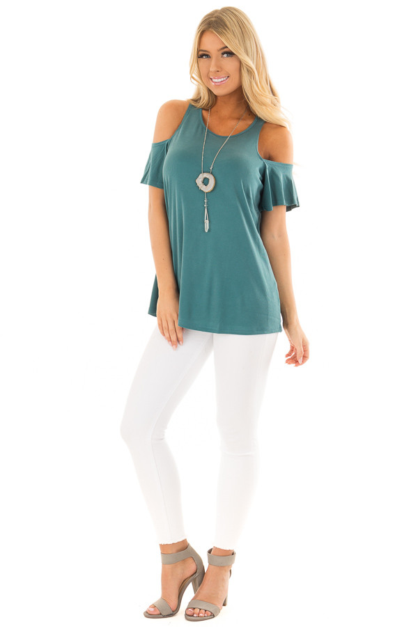 Dusty Teal Soft Ribbed Knit Cold Shoulder Top front full body