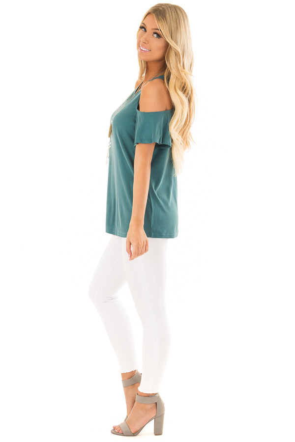 Dusty Teal Soft Ribbed Knit Cold Shoulder Top side full body