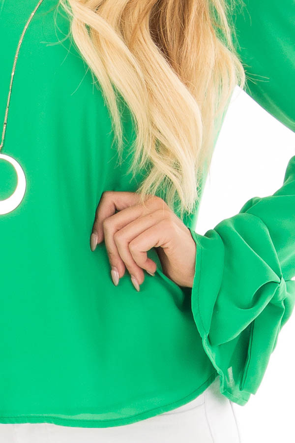 Lime Green V Neckline Blouse with Bow Sleeves detail