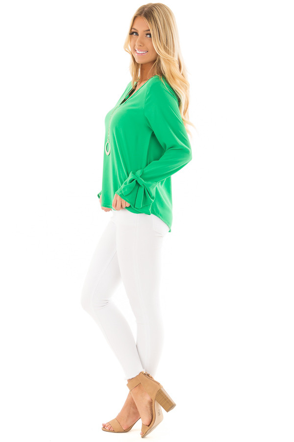 Lime Green V Neckline Blouse with Bow Sleeves side full body