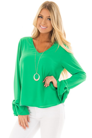 Lime Green V Neckline Blouse with Bow Sleeves front close up