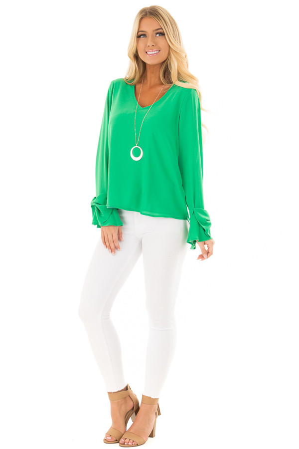 Lime Green V Neckline Blouse with Bow Sleeves front full body