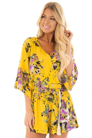 Golden Yellow Floral Print Romper with Tassel Waist Tie front close up