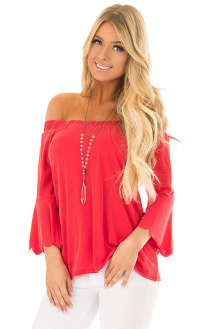 Cherry Red Off the Shoulder Top with Scalloped Bell Sleeves front close up
