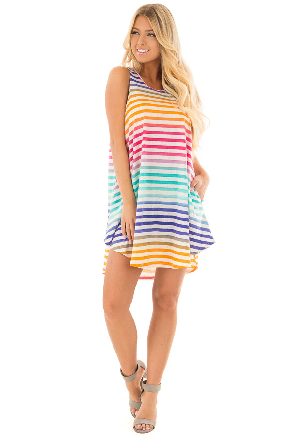 Multicolor Striped Dress with Side Pockets front full body