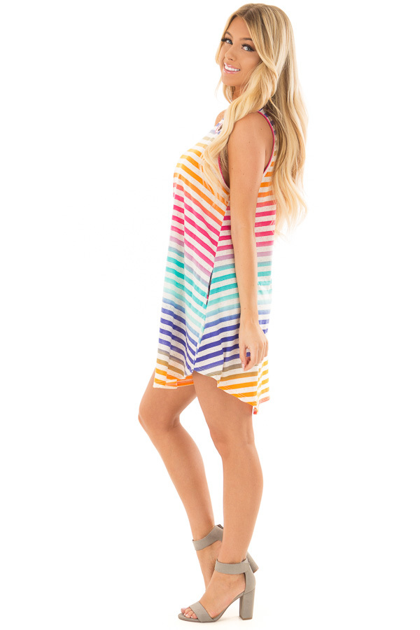 Multicolor Striped Dress with Side Pockets side full body