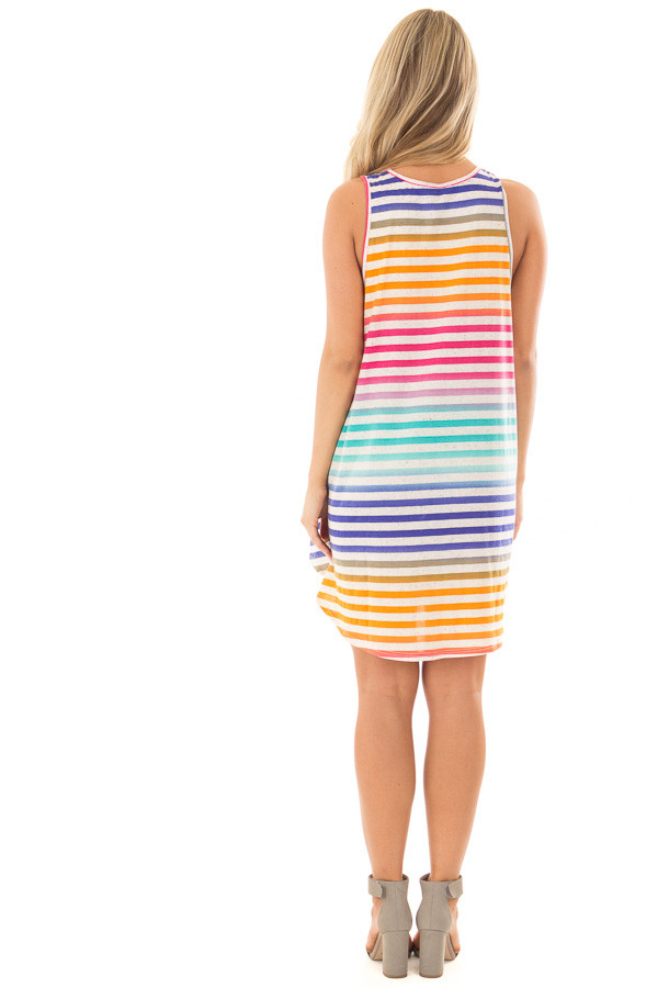 Multicolor Striped Dress with Side Pockets back full body