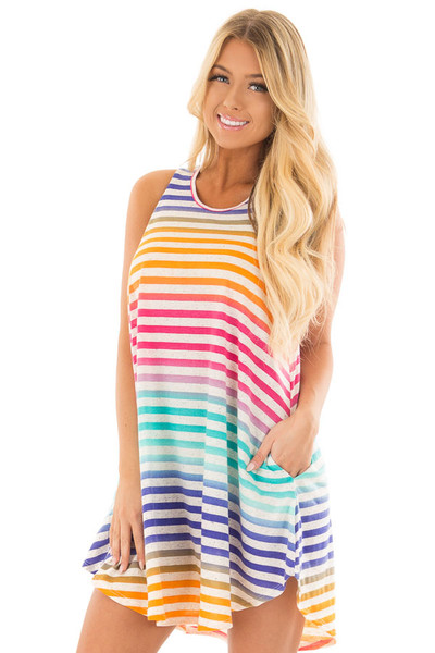 Multicolor Striped Dress with Side Pockets front close up