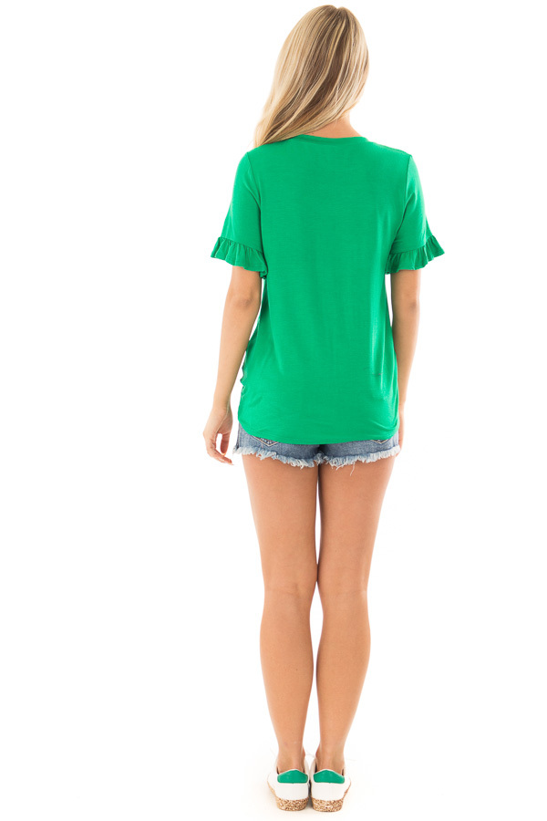 Kelly Green Top with Ruffle Sleeves and Front Tie Detail back full body