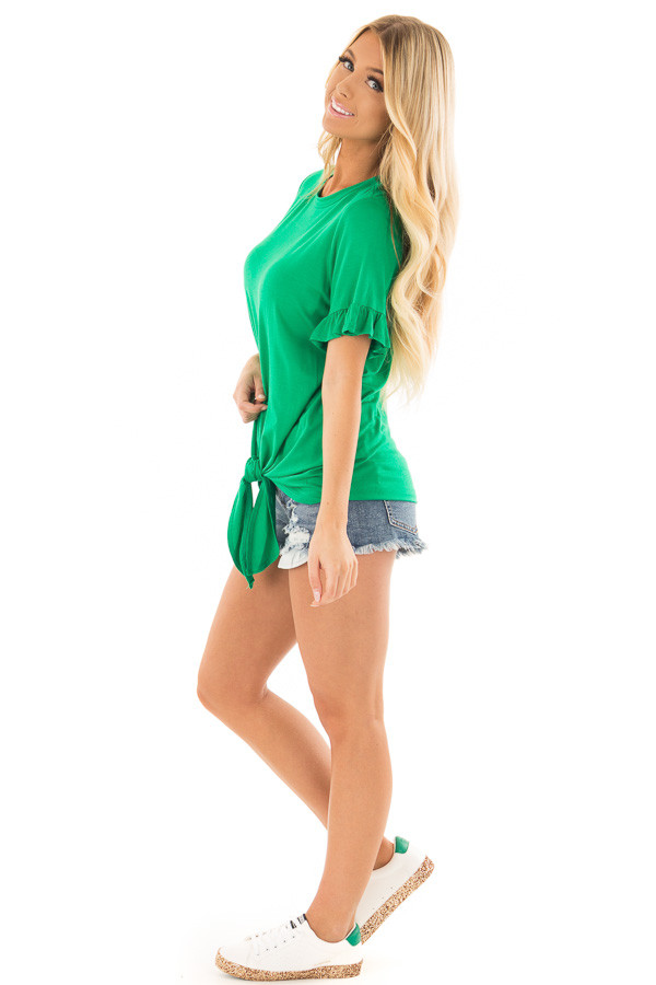 Kelly Green Top with Ruffle Sleeves and Front Tie Detail side full body
