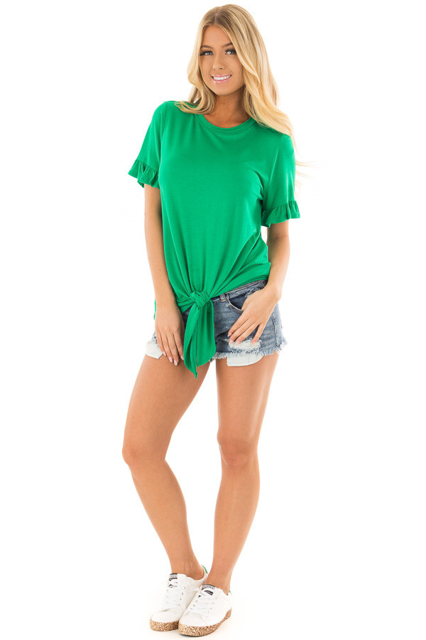 Kelly Green Top with Ruffle Sleeves and Front Tie Detail front full body