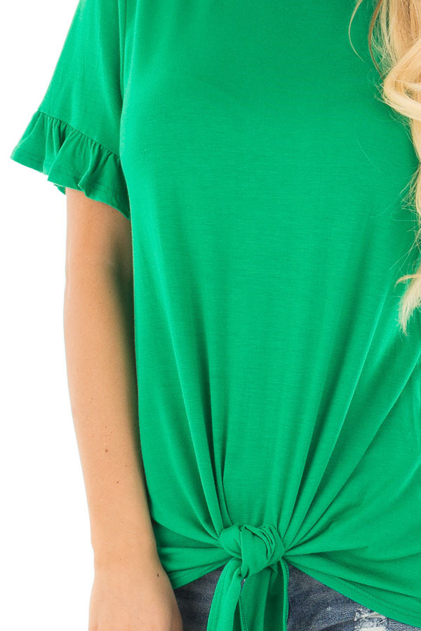 Kelly Green Top with Ruffle Sleeves and Front Tie Detail detail