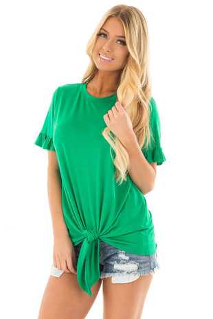 Kelly Green Top with Ruffle Sleeves and Front Tie Detail front close up