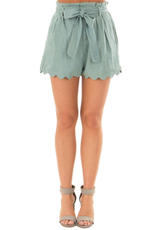 Sea Green Scallop Hem Shorts with Waist Tie Detail front view