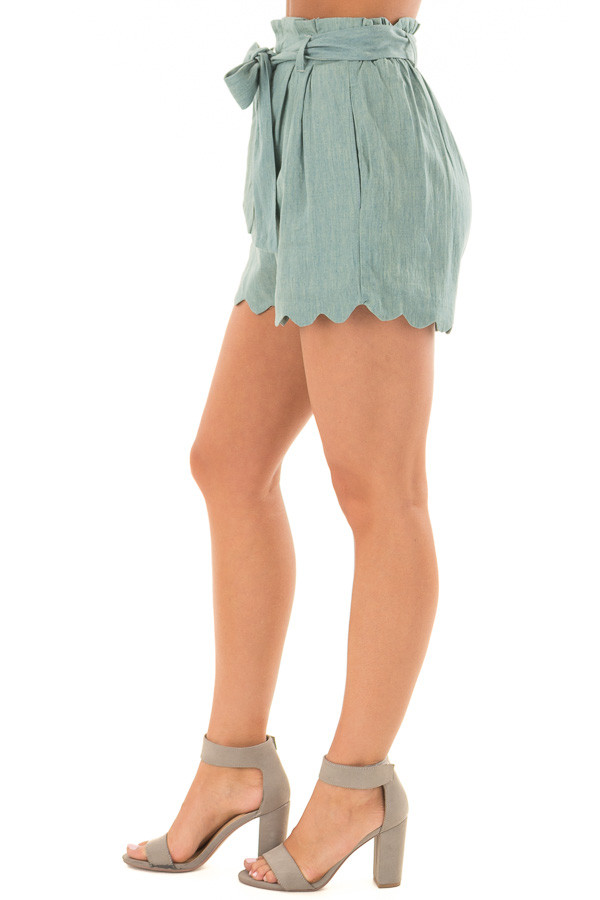Sea Green Scallop Hem Shorts with Waist Tie Detail side view